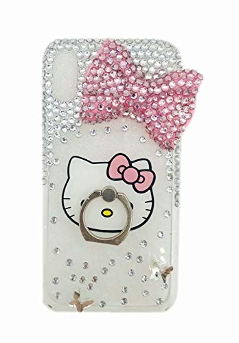 iamond Case,iPhone 6S Rhinestone Case,3D Handmad Pink Bow Bling Glitter Diamond Shining Gemstone Phone Case with Flower Lanyard for iPhone 6/6S 4.7 inch ()