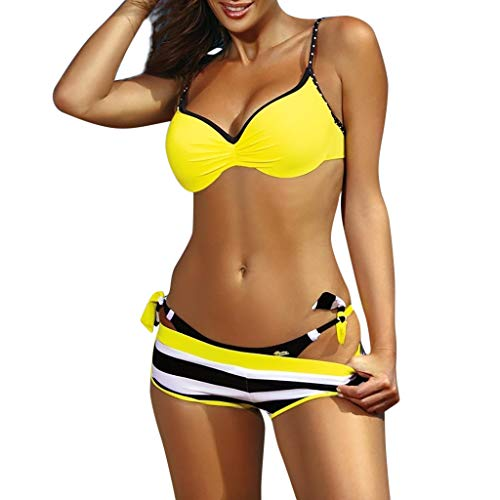 Gingham Boyshort - Summer 3pcs Bikini Set Women,Women's Push Up Padded Ruched Bikinis Top Thong Bottoms with Boyshorts Swimsuit Yellow