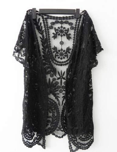 Dragonpad Womens Crochet Knitted Open Vest Boho Casual Summer CoverUp Tops Blouse Black