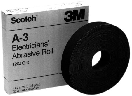Pack of 10 1 Length x 25yd Width 3MIA9 054007115601 Aluminum Oxide 120 Grit 1 Length x 25yd Width Scotch Electricians Abrasive Roll A-3