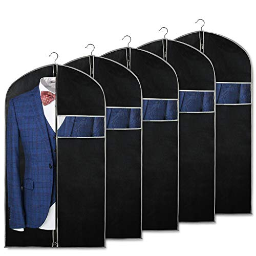 Syeeiex 40 inch Suit Bags for Storage and Travel with Clear Window and ID Card Holder for Suit, Jacket, Skirt, Shirt and Coat, Set of 5 (Suit Window With Bag)
