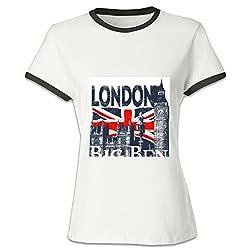 Crossing Womens Lady London Big Ben UK British Flag Personality Hit Color Tee XXL black