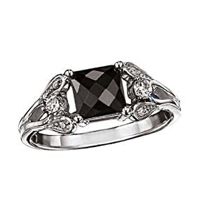 Avon Sterling Silver Genuine Black Sapphire Ring Size 6