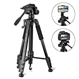 Tripod, Camera Tripod 59'' Portable Phone Tripod with Phone Holder, Video Tripod Compatible for Canon Nikon Sony Olympus DV, 360 Panorama, 2.69Lb Lightweight Aluminum Alloy with Travel Bag, 11Lb Load