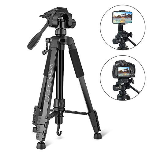 MACTREM Tripod, Camera Tripod 59″ Portable Phone Tripod with Phone Holder, Video Tripod Compatible for Canon Nikon Sony Olympus DV, 360 Panorama, 2.69LB Lightweight with Travel Bag, 11LB Load