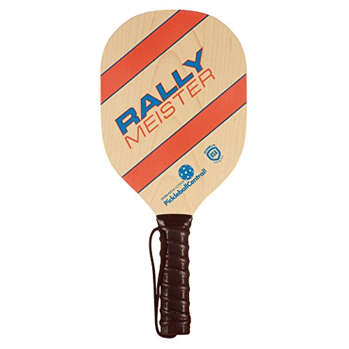 Pickleball Paddle | Rally Meister Beginner Pickle Ball Paddle | Wood Paddle with Comfort Cushion Grip & Safety Strap | USAPA Approved | Lightweight and Durable | Great Fun For All Ages - Cushion Paddle