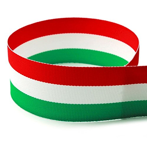 7/8'' Red/White/Green Striped Grosgrain Ribbon - 100 Yards - USA Made - (Multiple Widths & Yardages Available) by The Ribbon Factory
