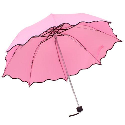 W8sunjs Lady Women Flouncing Princess Dome Parasol Sun/Rain Folding Foldable Umbrella (Pink)