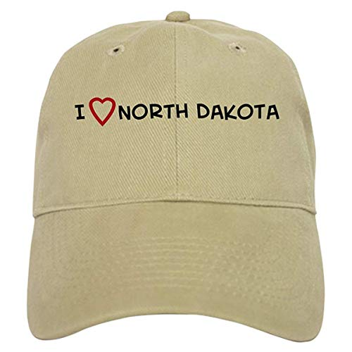 LUDEM I Love North Dakota Baseball Cap with Adjustable Closure, Unique Printed Baseball Hat ()