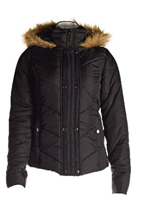 Krush Faux-Fur-Trim Quilted Coat Jacket Black Junior Large