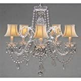 CRYSTAL CHANDELIER CHANDELIERS LIGHTING WITH WHITE SHADES H 25″ X W 24″ For Sale