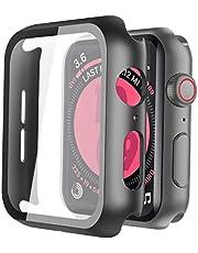 Misxi Schwarz Hard Apple Watch Series 5 / Series 4 Hülle Mit Panzerglas Displayschutz 44mm, 360° Rundum Schutzhülle Ultradünne Schutz Case für iWatch Serie 5 / Serie 4 44mm