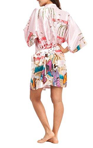 YueLian Mujeres Verano Elegante Suelto Bellezas Seda Artificial Manga Tres Cuartos Bata Albornoz Corto Camisón Estampado Rosa claro