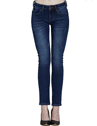 Camii Mia Women's Winter Slim Fit Fleece Jeans (W29 x L30, Blue 3) Urban Cowboy Jeans