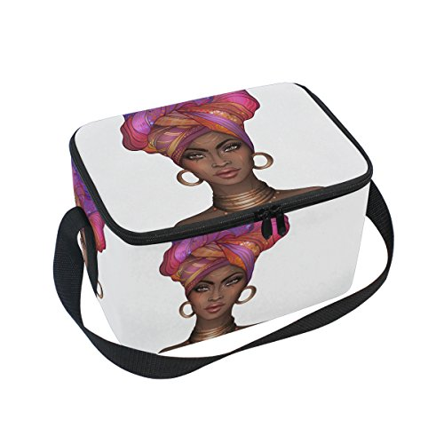 African American Women Lunch Bag Square Tote Bag Picnic Travel Organizer Lunch Holder Lunch Handbags Box