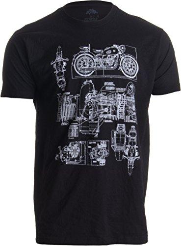 M-72 Motorcycle Engine Blow Out Diagram | Mechanic Schematic Art Unisex T-Shirt-(Adult,L) Black