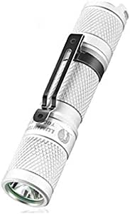 Yadianna Flashlights,Lumintop Tool AA 2.0 Mini LED Flashlight EDC Keychain Flashlight 3 Colors 650 Lumens 127 Meters 5 Mode 14500/AA Flashlight (Color : White,Size : 8.95 * 1.85cm)