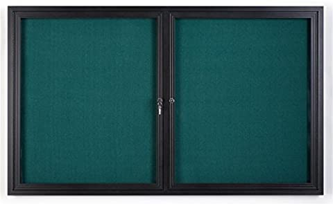 Displays2go 5 x 3 Inches Enclosed Teal Fabric Bulletin Board with 2 Locking Doors, 60 x 36 Inches Tackboard for Wall Mount-Indoor Use Only, Aluminum Frame with Semi-Gloss Black Finish - Enclosed Cork Board