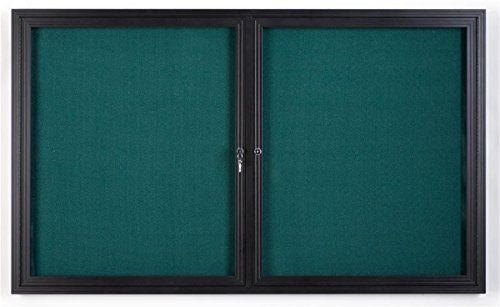 Displays2go 5 x 3 Inches Enclosed Teal Fabric Bulletin Board with 2 Locking Doors, 60 x 36 Inches Tackboard for Wall Mount-Indoor Use Only, Aluminum Frame with Semi-Gloss Black Finish (FBSW53BKTL) by Displays2go