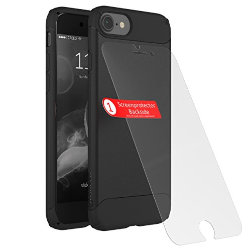 Coque CREED Black Shadow GLASS EDITION (écran de protection inclus) pour l'Apple iPhone 8 / 7 - Coque flexible pour smartphone - Protection iPhone 8 / 7 Noire [CR01042 Black]