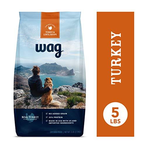 Amazon Brand - Wag Dry Dog Food Turkey & Lentil Recipe (5 lb. Bag) Trial (Best Inexpensive Dog Food For Large Breeds)