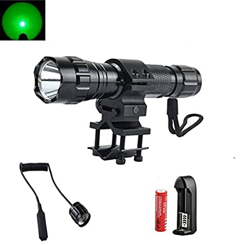 SHIGOO Green Light 501B 350 Lumens Bright LED Flashlight Torch Tactical Light Flashlight Lamp with Gun Mount + Remote Pressure Switch + 18650 Rechargeable Battery + 18650 Charger (Green (350 Lumen Light)