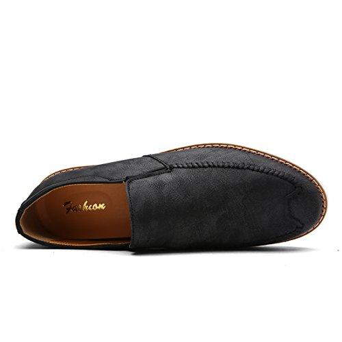 Xiafen Autunno Mens Classic Slip-on Flats Comode Scarpe Casual Traspiranti Nere