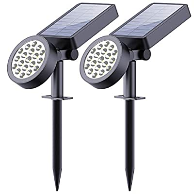 Solar Yard Lights Outdoor,19 LED Solar Spotlights-Waterproof Outdoor Adjustable Wall Light Landscape Light Security Lighting Dark Sensing Auto On/Off for Patio Lawn Pool Yard Garage Garden, Pack of 2
