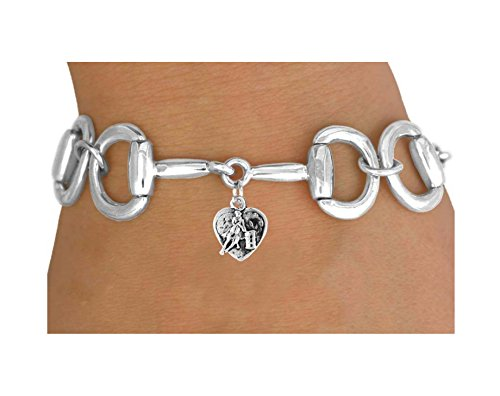 Bit-link Bracelet & Barrel Racer Heart Charm by Lonestar Jewelry