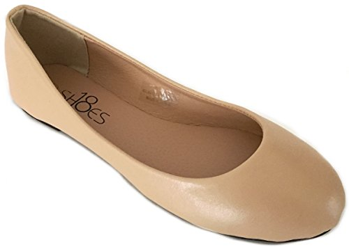 Shoes 18 Womens Classic Round Toe Ballerina Ballet Flat Shoes Nude Pu 8600