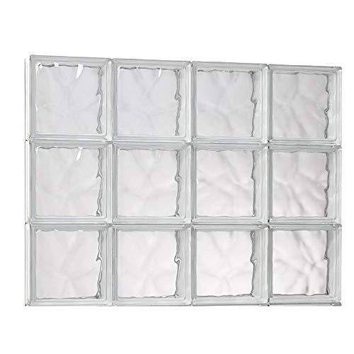 31 in. x 21.25 in. x 3.125 in. Wave Pattern Solid Glass Block Masonry Window