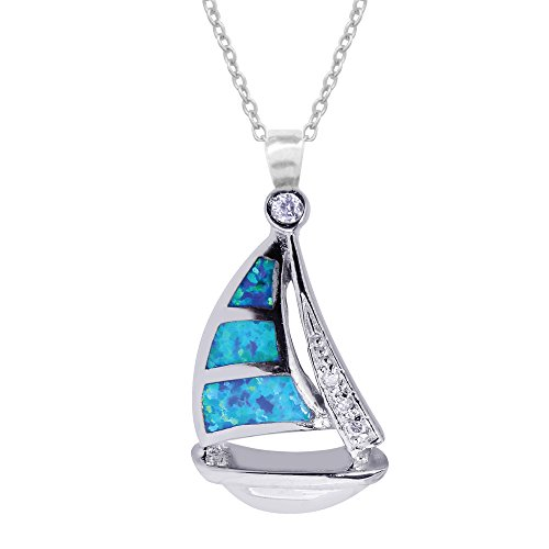 Ritastephens Sterling Silver Sail Boat Sailboat Charm Necklace Lab Created Opal 20 Inches