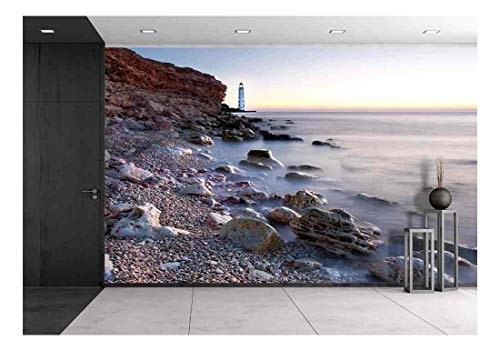 Lighthouse on Beach Shore Wall Mural Decor