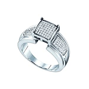 Sterling Silver Womens Diamond Elevated Square Cluster Bridal Wedding Engagement Ring 1/4 Cttw