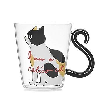Mouchao Tazza del Succo di Frutta del caffè del tè del Latte della Tazza della Maniglia della Coda di Gatto della Tazza di Acqua Sveglia del Gattino Sveglio