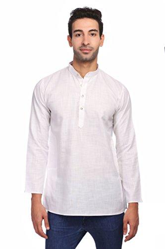 WINTAGE Men's Cotton Silk Blend Tailored Fit Casual/Festive Indian Kurta Dress Shirt : White, Small