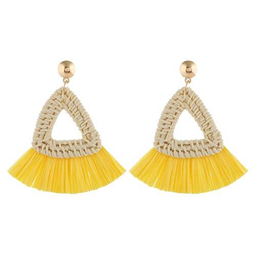 Temperament Personality Ethnic Earrings Bohemian Trend Handmade Wicker Hole Wood Triangle Circle Tassel Fringe Earrings Dangle Drop Women Jewelry Yellow