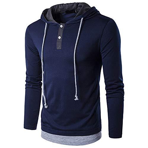 haoricu Autumn Winter Men's Solid Long Sleeve Drawstring Hooded Sweatshirt Boys Top Blouse by haoricu