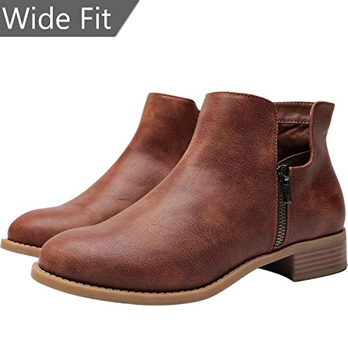 Wide Fit Ankle Boot - Women's Wide Width Ankle Boots, Chunky Block Low Heel Boots Slip On Side Zipper Martin Boots Cozy Comfortable Work Shoes.(180528 Brown 13WW)
