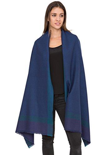 Herringbone Handwoven Textured Merino Wool Pashmina Scarf Blue,Blue,One (Merino Wrap)