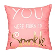 Fjfz Gold Print Foil You Were Born to Sparkle Motivational Sign Inspirational Quote Cotton Linen Home Decorative Throw Pillow Case Cushion Cover Sofa Couch, Pink, 18  x 18
