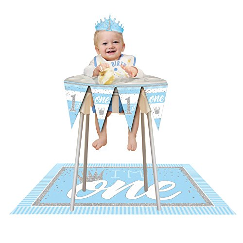 Forum Novelties 1st Birthday Celebration Deluxe Decoration Kit for High Chairs-Party Supplies Banner, Mat and Baby King Crown