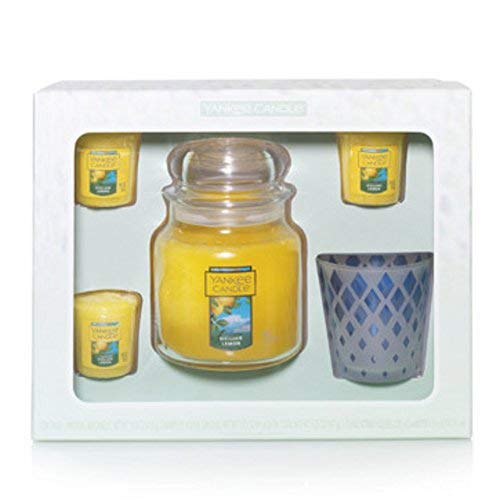 Yankee Candle Sicilian Lemon Medium Jar 3 Sampler Votives and Lavender Holder Gift Set