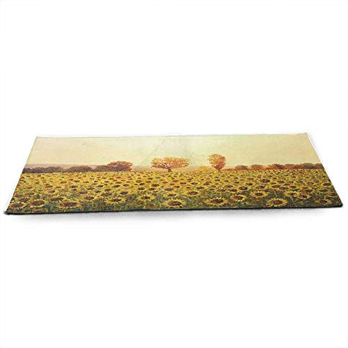 Landscape Eco Friendly Yoga Mat Sun Flowers Field at Sunset Forest Background with Sun Oil Painting Image Anti-Tear W24 x L70 Cream Yellow Green