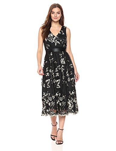 Beige Fashions Length S Black Ebmroidered Lace Tea L Dress Women's gp5qzHw
