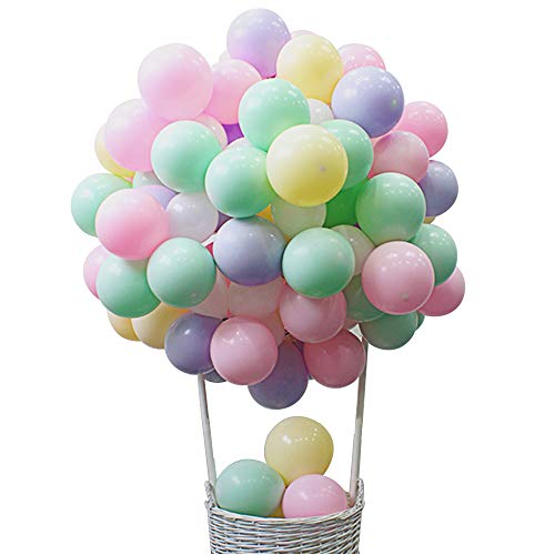 12 Inch Pastel Balloons Macaron Assorted Candy Colored Balloons for Rainbow Arch Birthday Baby Shower Party Decor Supplies Helium Balloon Garland Tower - -