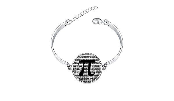 Adjustable Silver Bracelets Math Jewelry Teachers Science Mathematics Black And White ArtHand Chain Link Bracelet Clear Bangle Custom Glass Cabochon Charm
