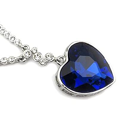 """Isijie Jewelry Blue Sapphire Heart of the Ocean Titanic Pendant Necklace for Women & Girls,Silver Plated & Crystal & Zircon,15.7+2"""" Chain"""