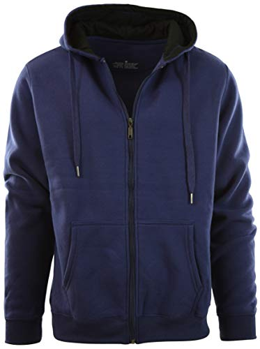 Mens Premium Soft and Durable Round Neck Pullover and Zip-Up Hoodies (M, Zipper-Purple)