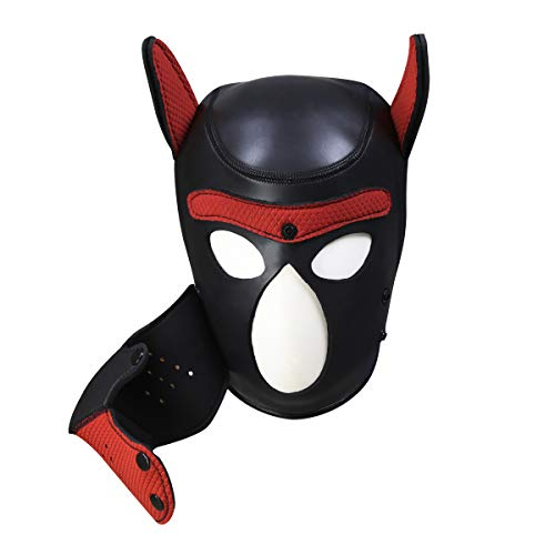Meihuida Neoprene Full Face Mask Dog Puppy Hood Custom Animal Head Mask Novelty Costume Dog Head Masks (Black+Red)